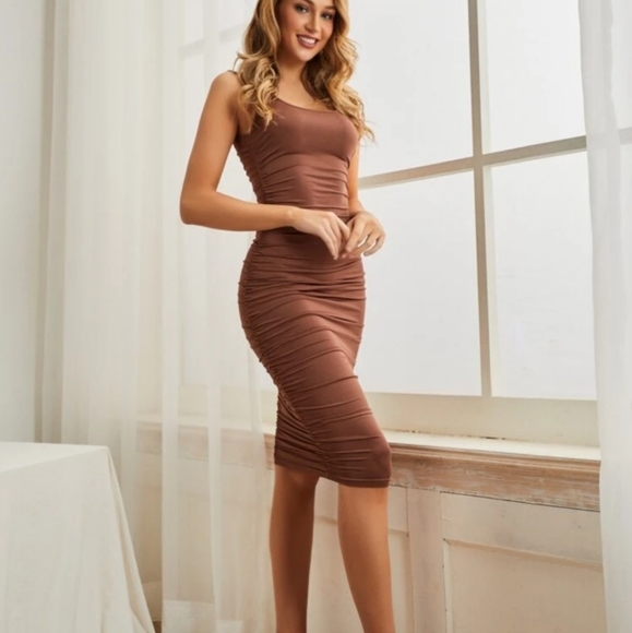 ❄️ 3/$25 NWT Sexy Bodycon Ruched Brown Dress